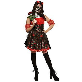 يوم وردة حمراء من سيتوريتا الميت الاسبانية الجمجمة شبح النساء زي