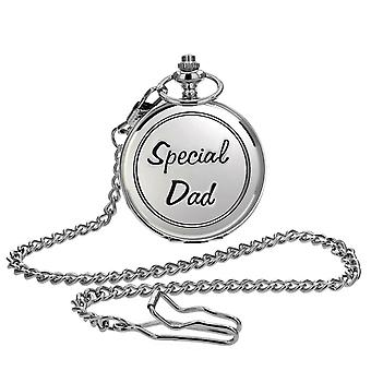 """Boxx Silver Tone Metal Engraved """"Special Dad"""" White Dial Pocket Watch BOXX290"""