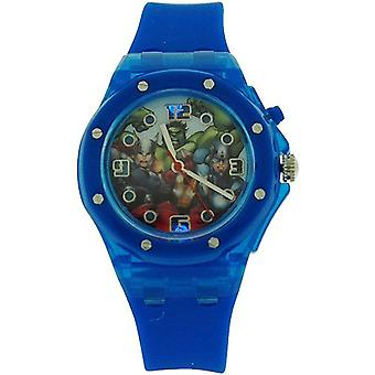 "Avengers Boys Analogue ""Flashing Lights"" Blue Rubber Strap Watch AVG3501"