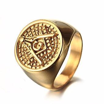 Classic vintage golden masonic ring