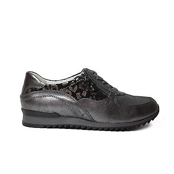 Waldläufer Hurly 370013 4050 07 Metalic Brown Leder Womens Lace Up Casual Trainer