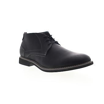 Izod Inwood Mens Black Leather Mid Top Lace Up Chukkas Boots