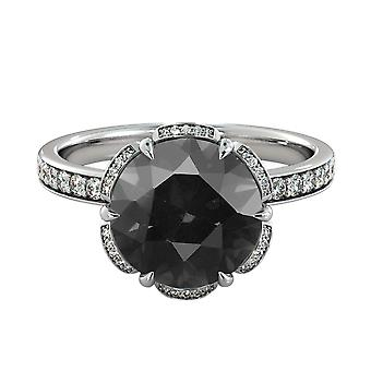 2,50 CTW Black Diamond Ring 14K White Gold Blume Vintage einzigartige