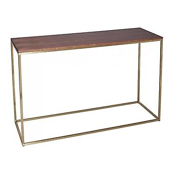 Gillmore Walnut And Gold Metal Contemporary Console Table