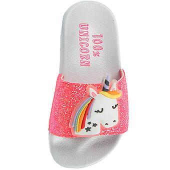 Girls white and dark pink unicorn summer sliders