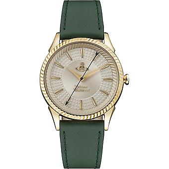 Vivienne Westwood The Seymour Quartz Gold Dial Green Leather Strap Ladies Watch VV240GDGR