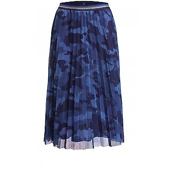 Oui Blue Patterned Pleated Skirt