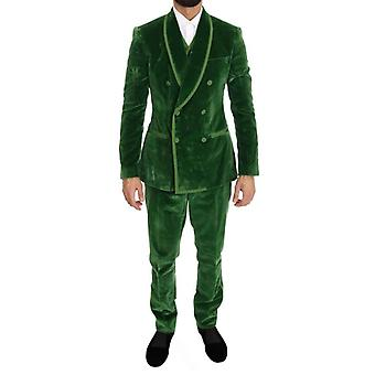Dolce & Gabbana Green Velvet Slim Fit Double Breasted Suit -- KOS1880816