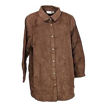 Joan Rivers Classics Collection Women's Plus Top Long Sleeve Brown A278730