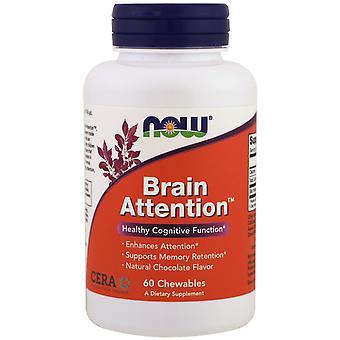 Hersenen aandacht-natuurlijke chocolade smaak (60 kauwtabletten)-Now Foods