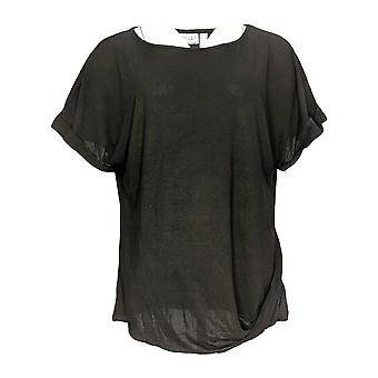 Women With Control Women's Top Roll Sleeve Crepe Jersey Black A290722