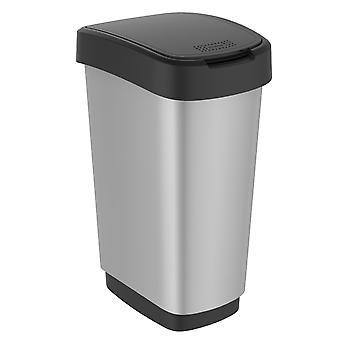 Rotho Odpadový kôš TWIST 50 litrov striebornej metalízy | Odpadkový kôš s hojdačkou a skladacím vekom