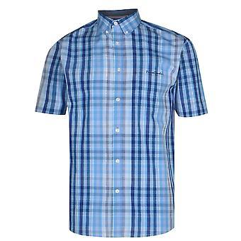 Pierre Cardin Mens C Short Sleeve Check Shirt Collar Button Fixation Top