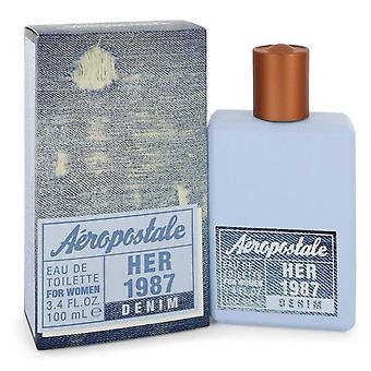 Aeropostale Her 1987 Denim Eau De Toilette Spray By Aeropostale 3.4 oz Eau De Toilette Spray