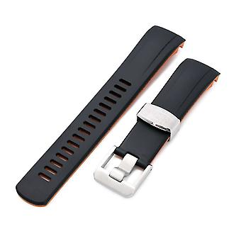 Strapcode rubber watch strap 22mm crafter blue - dual color black & orange rubber curved lug watch strap for seiko samurai srpb51