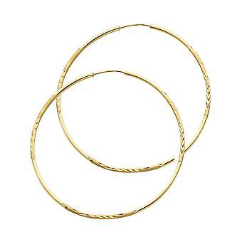 14k giallo oro 1,5mm Budded Sparkle Cut Endless Hoop Orecchini 45mm Regali gioielli per le donne