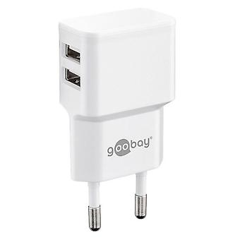 Universal Dual USB Charger 2.4A for Smartphone Tablets and much more. White Charge