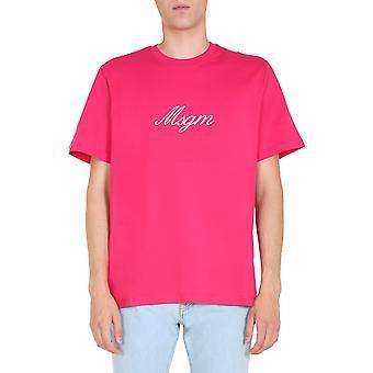 Msgm 2840mm23720709814 Men't-shirt de Algodão Fúcsia