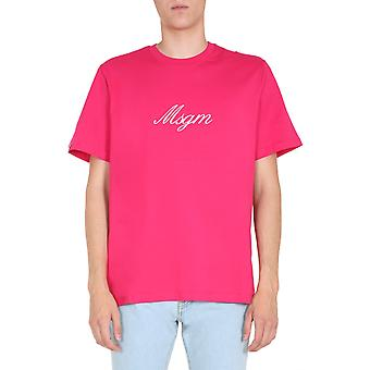 Msgm 2840mm23720709814 Männer's Fuchsia Baumwolle T-shirt