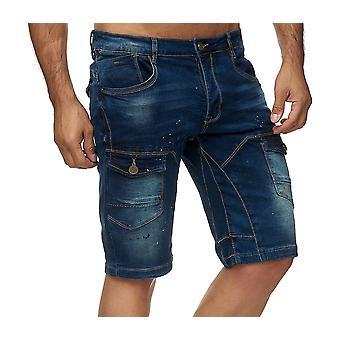 Mens Cargo Jeans Shorts Pantalon Denim Contrast 3/4 Chino Regular Fit Used Washed