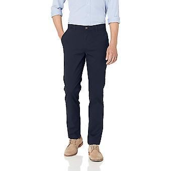 Essentials Men's Skinny-Fit Broken-in Chino Pant, Navy, 34W x 32L