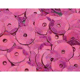 6mm Bright Pink Holographic Round Cupped Lantejoulas - 4000pk
