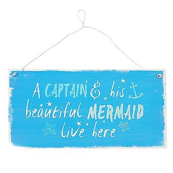 Something Different Captain And Mermaid Metal Wall Sign