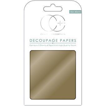 """Ambachtelijke Consortium Decoupage papieren 13.78"""" X15.75"""" 3/Pkg-Metallic goud"""