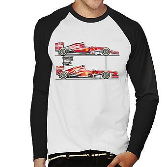 Motorsport Images Ferrari F14 T F138 Comparison Men's Baseball Long Sleeved T-Shirt