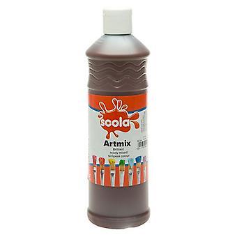 Scola Artmix Ready Mixed Tempera Paint 600ml (Burnt Umber)