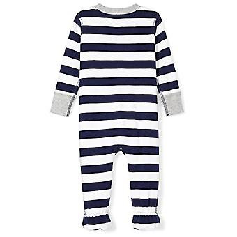 Moon and Back Baby Organic Footed Zip-Front Sleep and Play, Navy/White Stripe...
