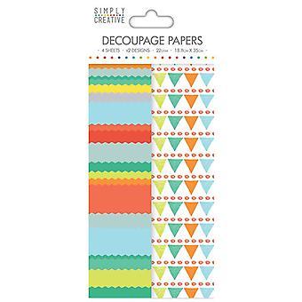 Simply Creative FSC Decoupage Paper - Bright Bunting