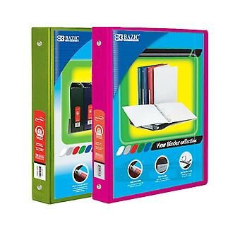 Combo46, BAZIC 1 Inch 3-Ring View Binder with 2-Pockets (Case pack of 24 consist 12-Lime Green & 12-Fuschia)