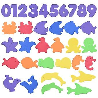 Alphanumeric Letter Puzzle - Bath Toys Soft Eva Bathroom Water Toys Early Educational Suction Up Fish Bathing Toy For Kids Baby