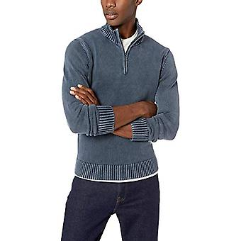 Merk - Goodthreads Men's Soft Cotton Quarter Zip Sweater, Washed Navy...
