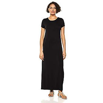 Essentials Women's Solid Short-Sleeve Maxi Dress, Svart, S