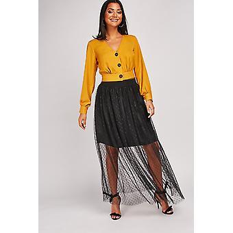 Mesh Polka Dot Skirt