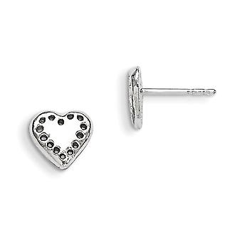 925 Sterling Silver Solid Polished Post Earrings Love Heart Mini for boys or girls Earrings