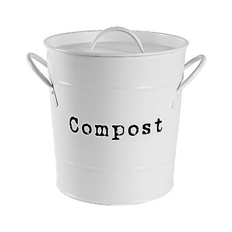 Vintage Compost Bin Storage Canister - Metal Square Jar Airtight Seal - Matte White