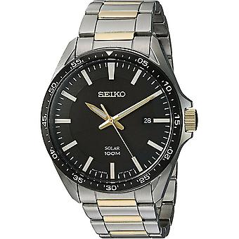 Mens Analogue Solar Powered Watch Black Dial with Stainless Steel Strap SNE485P1