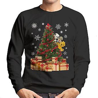 Personnages de Noël suie Peeking Autour de Xmas Tree Men's Sweatshirt