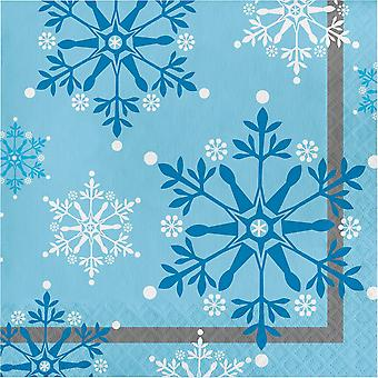 Snowflake Swirls Frozen Paper Party Napkins x 16 - Birthday Party Tableware