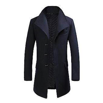 Allthemen Men's Wool Coat Slim Fit Thickened Lapel Wool Overcoat