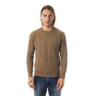 Uominitaliani Cacao Crew Neck Long Sleeve Sweater