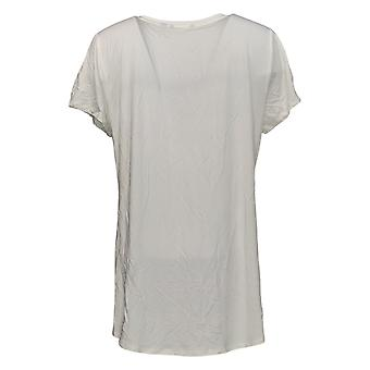 H par Halston Women's Top Short-Sleeve V-Neck Hi-Low Hem White A366417