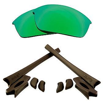 Polarized Replacement Lenses Kit for Oakley Flak Jacket Green Mirror Brown Anti-Scratch Anti-Glare UV400 by SeekOptics