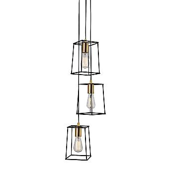 Italux Alanis - Modern Hanging Hang Hang Black Matt, Gold 3 Light met Black Matt Shade, E27