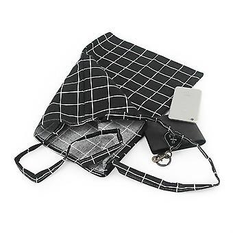 Nagy kapacitású kockás vászon tote táska, Eco bevásárló táska