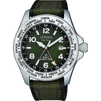 Cidadão BJ7100-23X Eco-Drive Promaster GMT World Time Military Navy Canvas Watch