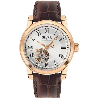 Gevril Men's Madison IPRG Silver Dial Brown Leather